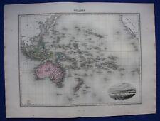 Original antique map OCEANIA, AUSTRALIA, NEW ZEALAND, NOUMEA, Migeon, 1891