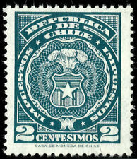 CHILE, 2 CENTESIMOS, FISCAL TAX STAMP, MNH