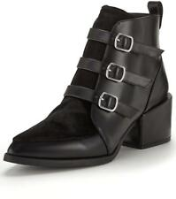 SHOEBOX SIENNA BLOCK HEEL BLACK PATENT ANKLE BOOTS