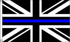 THIN BLUE LINE FLAG 5' x 3' British Police Lives Matter Black & White Union Jack