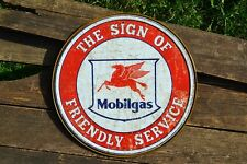 Mobilgas - Tin Metal Sign - Mobil Oil - Pegasus - The Sign of Friendly Service