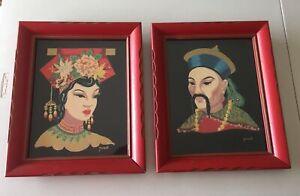 2 Vintage Mid Century MCM  Asian Oriental Man Woman Framed Paintings Wall Art