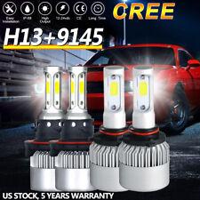 H13 9008 LED Headlight+9145 9140 Fog Lights 4 Bulbs Kit for 2004-2014 Ford F-150
