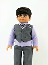 "Grey Suit Pant Set Fits 18"" American Boy or Girl Doll Clothes"