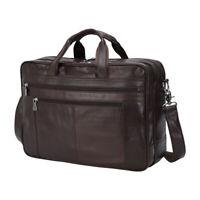 """Luxury Men Leather Briefcase 17"""" Laptop Attache Shoulder Messenger Bag Satchel"""