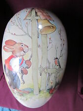 Vintage Paper Mache Large Easter Egg Container Echt Ezenbirge Germany Rabbit