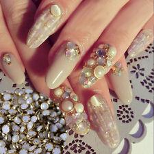 500pcs 4mm Cream White Pearl Flat Back Gold Metal Edge Nail Art Gems Beads