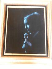 1970s Frank Sinatra Singing, Silhouette Blue Oil Painting on Black Velvet Framed