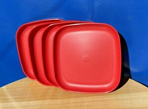 """Tupperware Square Luncheon Plates 8"""" Wild Red  Set Of 4 Plates New"""