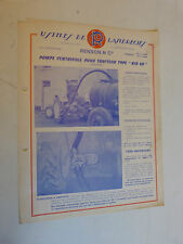 prospectus catalogue : pompe centrifuge pour tracteur type kid 60 RENSON ET Cie