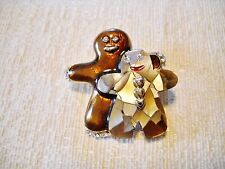 Pre-Owned Lc Mop, Brown Enamel & Silver Tone Metal Gingerbread Couple Pin