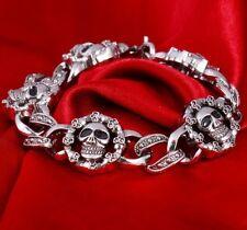 Men's Steel Bracelet Skull Chain Biker Demon Gothic Silver