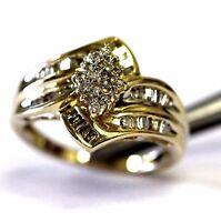 10k yellow gold .61ct SI3 I1 I round diamond cluster ring 3.2g estate vintage