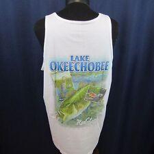 Reel Legends Small White Tank Top T-Shirt Lake Okeechobee Bass Fish