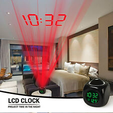Projection LED Alarm Clock Voice Talking Temperature Wall/Ceiling LCD Digital UK