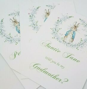 Will you be my Godfather/Mother/Parent Cards Peter Rabbit Themed PERSONALIZED