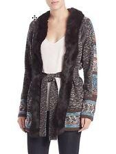 Haute Hippie Cardigan real fur collar jacket wool coat sweater leather S $895