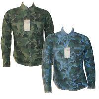 Mens Long Sleeve Camo Casual Shirt Cotton Blue Green Smart