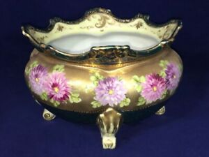 """Antique Victorian Hand Painted French Porcelain Footed Center Bowl Jardiniere 8"""""""