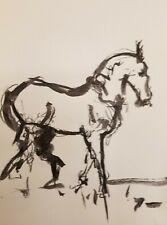 "JOSE TRUJILLO Equestrian DECOR MODERN ART ABSTRACT EXPRESSIONIST INK WASH 18X24"""