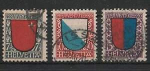 1920 Schweiz (KG2868), Serie Pro Juventute ANK.164-166 gestempelt
