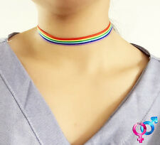 Rainbow Gay Pride LGBT Tattoo Hippy Boho Unisex Choker Pendant Necklace