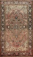 Vintage Geometric Faded Color Heriz Hand-knotted Area Rug Wool Carpet 7'x10'