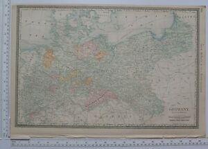 1890 ORIGINAL MAP GERMANY NORTHERN PORTION ~ KINGDOM OF SAXONY BRANDENBURG