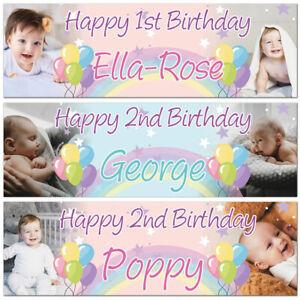 2 Personalised birthday banner photo balloon baby kid star balloon rainbow party