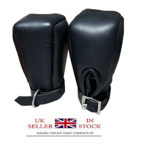 Real Black Sheep Leather Fist Mitts Gloves Sexy Padded Lined Bondage
