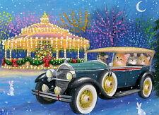 Kittens cats bunnies car gazebo Christmas lights fantasy OE aceo print art