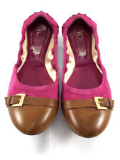 TOD's Brown Leather and Purple Suede Ballerina Flats, Women's Shoes Size UK 4