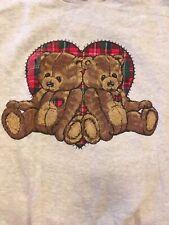 VTG 90s Basic Editions Teddy Bear Plaid Hearts Grandma Sweatshirt Women's Large