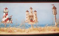 Lighthouse and Beach Items on Aqua Blue on Sure Strip Wallpaper Border BG1660BD