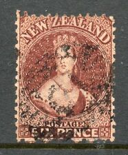 New Zealand 1864 6d red-brown Chalon perf 12½ wmk Large star SG 122 used