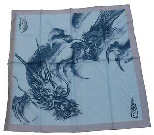 Horiyoshi III Dragon 100% Silk Square Scarf Scarves Blue 88cm x 88cm