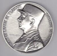 XL WWII Marshall de Lattre de Tassigny Silvered Bronze Plaque, Pierre Turin
