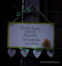Family Plaque Personalised Wooden White hanging Hearts Gift-up to 6hearts