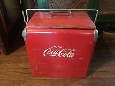 1950's Drink Coke Coca-Cola Red Metal Cooler Acton Mfg Co Arkansas City KS USA
