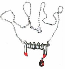 True VAMPIRE FANG BLOOD DROP PENDANT NECKLACE-Banger Bite Gothic Costume Jewelry