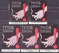 POLAND 1964 Matchbox Label - Cat.Z#510 set, Tobacco destroys health.