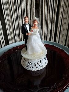 Vintage Wedding Cake Topper Lumart BK NY - Light Brown Hair and Blue Eyes 6.25""