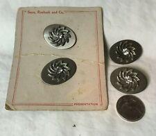 "* Vintage Set 4 Oval Metal Applied Design & Rhinestone Button 1 x 1 3/8"" SEARS"