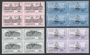 Guyana #1355-58 1985 Abolition of Slavery IMPERF BLOCKS OF 4 MNH