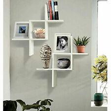 Set of 2 Floating Wall Wood Shelves Shelf Display Rack Home Office Decor White