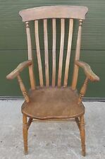 Antique Victorian Slat-Back Country Farmhouse Kitchen Armchair Chair - Needs TLC
