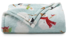 Snowman Oversized Plush Throw Blanket 5 ft x 6 ft Light Blue by The Big One