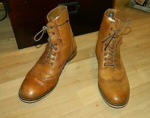 Mens Ben Sherman Size 9 Brogue boots  Brown leather lace up  boot (KRV007)