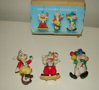 Vintage Set of 3 Circus Clown Ornaments Taiwan Christmas Ceramic