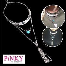 Necklace Boho Silver Turquoise Festival Chain Choker Pendant Boho Collar *UK